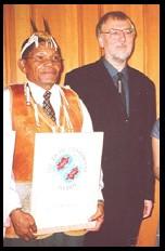 Roy Sesana receives the right Livelihood award from Jakob von Uexkall